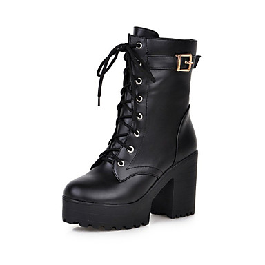 Women's Shoes Leatherette Winter Comfort / Novelty / Fashion Boots Boots Chunky Heel Round Toe Mid-Calf Boots Black / Yellow / Brown