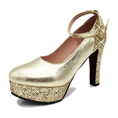Mujer Zapatos Semicuero Primavera / Otoño Confort Tacones Tacón Cuadrado Dedo redondo Dorado / Plata / Rojo / Fiesta y Noche 0gTV9ET