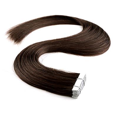 voordelige Extensions van echt haar-neitsi 100% human hair band in hair extensions pu huid inslag haar steil