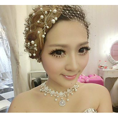 Women's Imitation Pearl Lace Choker Necklace - Necklace For Wedding Graduation