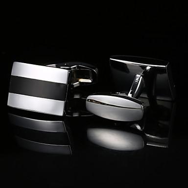 Geometric Silver Cufflinks Pattern Men's Costume Jewelry
