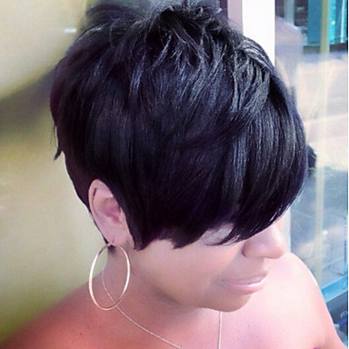 Human Hair Capless Wigs Human Hair Straight Side Part Short Machine Made Wig Women's