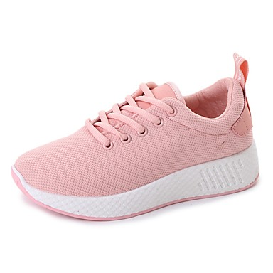 5b7a5fdaaead Women s Tulle Fall Comfort Athletic Shoes Walking Shoes Flat Heel Round Toe  Lace-up White   Black   Pink