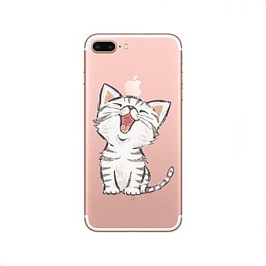 Case Kompatibilitás Apple iPhone X / iPhone 8 Átlátszó / Minta Fekete tok Cica Puha TPU mert iPhone X / iPhone 8 Plus / iPhone 8