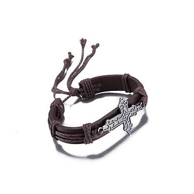 voordelige Herensieraden-Heren Dames Wikkelarmbanden Lederen armbanden Wide Bangle Hol Leder Armband sieraden Bruin Voor Lahja Causaal / Verzilverd