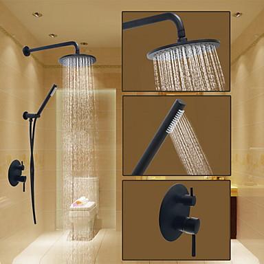 Slavina za tuš - Okrugli Lakirana bronca Sustav za tuširanje Keramičke ventila Bath Shower Mixer Taps / Brass