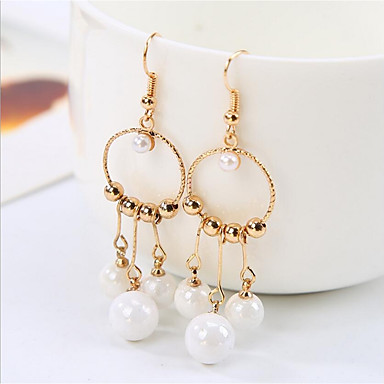 Women's Hoop Earrings - Imitation Pearl, Gold Plated Gold / Wedding