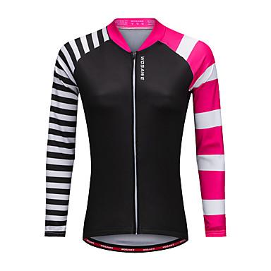 WOSAWE Women's Long Sleeve Cycling Jersey - Black Bike Jersey Polyester