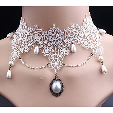 levne Dámské šperky-Dámské Syntetický diamant Obojkové náhrdelníky Klasické Cute Style Napodobenina perel Krajka Bílá Náhrdelníky Šperky Pro Svatební Párty