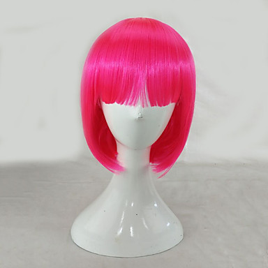 Synthetic Wig Straight Pink Bob Haircut Synthetic Hair Pink Wig Women's Medium Length Capless
