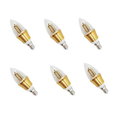 6pcs 3 W 650-700 lm E14 LED Kerzen-Glühbirnen 16pcs LED-Perlen SMD Warmes Weiß 85-265 V / 6 Stück / RoHs