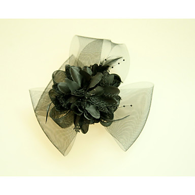 Tulle / Fabric / Net Fascinators / Flowers with Feather 1 Wedding / Special Occasion / Event / Party Headpiece