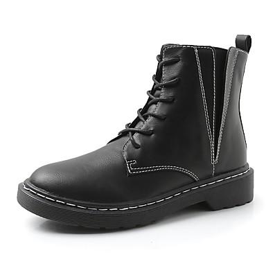 Women's Shoes Leatherette Spring / Fall Comfort Boots Round Toe Black / Khaki