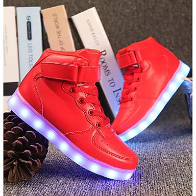 Fiú Cipő PU Tavaszi nyár Világító cipők Tornacipők LED mert Fehér / Fekete / Piros