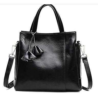Women's Bags Cowhide Shoulder Bag Zipper Black / Red / Dark Blue