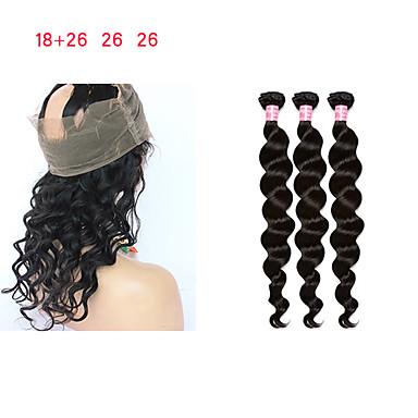 baratos Extensões de Cabelo Natural-3 pacotes com fechamento Cabelo Mongol Encaracolado Ondulação Larga Onda Profunda 10A Cabelo Natural Remy Tramas de cabelo humano 8a Extensões de cabelo humano