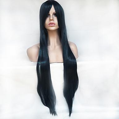 Szintetikus parókák Egyenes Aszimmetrikus frizura / Bretonnal Szintetikus haj Természetes hajszálvonal Fekete Paróka Női Hosszú Sapka nélküli