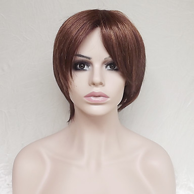 Synthetic Wig Straight Asymmetrical Haircut / With Bangs Synthetic Hair Natural Hairline Brown Wig Women's Short Capless