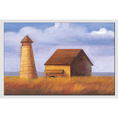 Oil Painting Hand Painted - Landscape Classic Canvas / Stretched Canvas