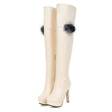 Damen Schuhe Kunstleder Herbst Winter Modische Stiefel Stiefel Runde Zehe Kniehohe Stiefel für Normal Kleid Weiß Schwarz Beige