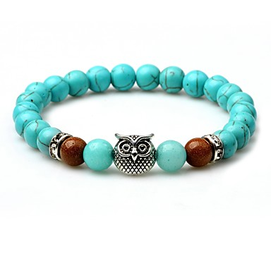 abordables Bracelet-Bracelet à Perles Bracelet de bonne chance Homme Turquoise Turquoise Animal Chakra équilibre Bracelet Bijoux Turquoise Forme de Cercle pour Plein Air Sortie