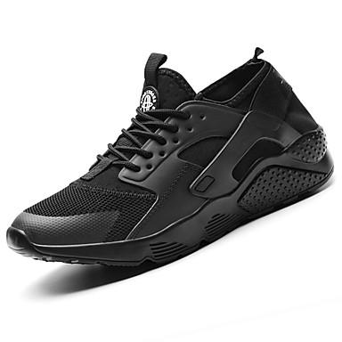 Herren Schuhe Atmungsaktive Mesh Tüll PU Frühling Herbst Komfort Sportschuhe Rennen Für Sportlich Normal Weiß Schwarz Rot Schwarz/weiss