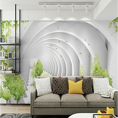 billige Tapet-abstrakt kunst sirkel tilpasset 3d stor veggdekorasjon veggmaleri tapet passer restaurant tv bakgrunn hvit