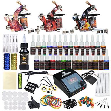 Tätowiermaschine Beginner Set 3 x Legierung Tattoo Maschine für Futter und Schattierung LCD-Stromversorgung 2 x Alu-Griff 20 Stück Tattoo