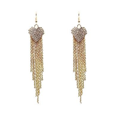Damskie Kolczyki wiszące Rhinestone Kutas Klasyczny Modny Imitacja diamentu Stop Serce Biżuteria Gold Silver Codzienny Formalny Biżuteria