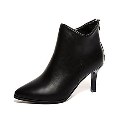 Damen Schuhe PU Winter Springerstiefel Stiefel Spitze Zehe Mittelhohe Stiefel Reißverschluss für Normal Schwarz Rot