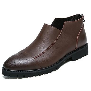Męskie Buty PU Jesień Zima Comfort Mokasyny i pantofle na Casual Biuro i kariera Black Gray Brown