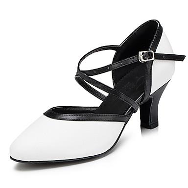Damskie Taniec nowoczesny Skóra Sandały Adidasy Profesjonalne Gruby obcas White