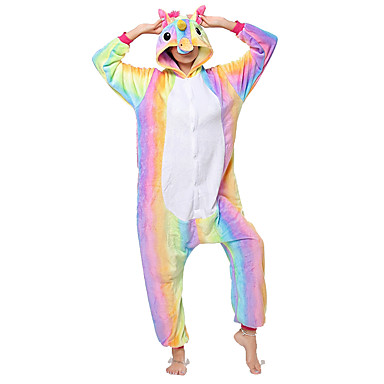 Adults' Cosplay Costume Kigurumi Pajamas Unicorn Flying Horse Pony Onesie Pajamas Flannel Fabric Rainbow Cosplay For Men and Women Animal Sleepwear Cartoon Festival / Holiday Costumes