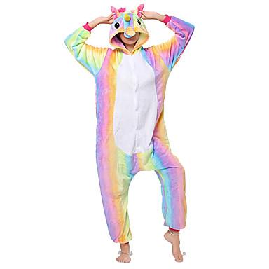 Adults' Kigurumi Pajamas Unicorn Flying Horse Onesie Pajamas Flannel Fabric Rainbow Cosplay For Men and Women Animal Sleepwear Cartoon Halloween Festival / Holiday