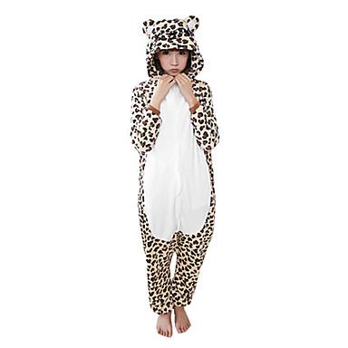 Kigurumi-Pyjamas mit Hausschuhen Leopard Pyjamas-Einteiler Kostüm Korallenfleece Braun Cosplay Für Erwachsene Tiernachtwäsche Karikatur
