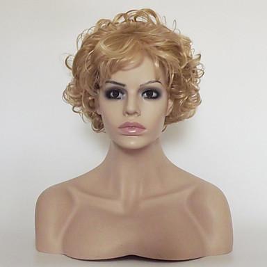 Peruki syntetyczne Kinky Curly Z grzywką Blond Damskie Bez czepka Peruka imprezowa Peruka naturalna Krótki Włosy syntetyczne