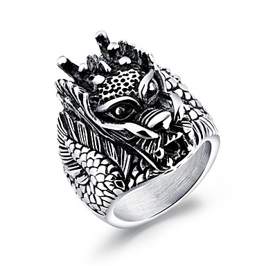 Męskie Pierścień oświadczenia Silver Stal Tytan Geometric Shape Hip-Hop Rock Karnawał Klubowa Biżuteria kostiumowa