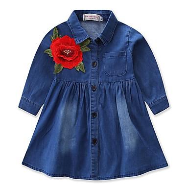 baratos Vestidos para Meninas-Bébé Para Meninas Casual Activo Diário Para Noite Sólido Bordado Manga Longa Vestido Azul / Princesa