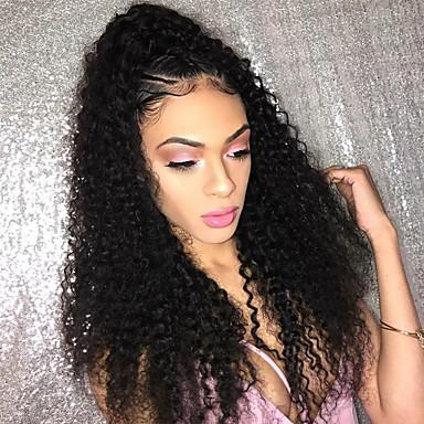Włosy naturalne Koronkowy przód Peruka Włosy brazylijskie Kinky Curly Z baby hair 150% Gęstość Naturalna linia włosów Krótki Medium Długo