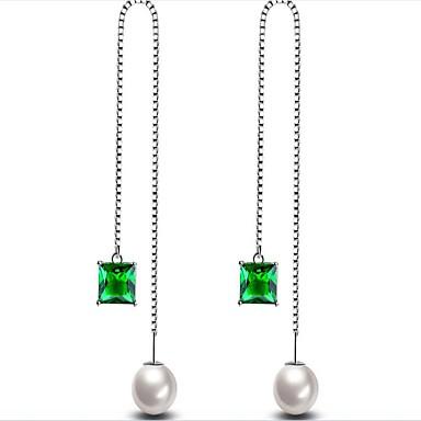 Damskie Kolczyki wiszące Cyrkonia Pearl imitacja Modny Pozłacane Geometric Shape Biżuteria White Green Impreza Prezent Biżuteria