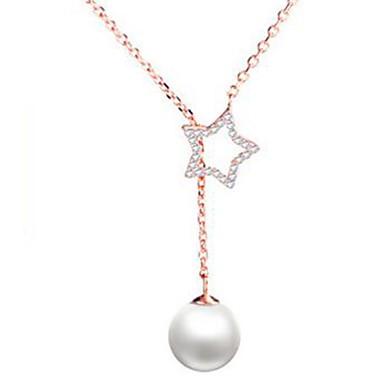 Damskie Pearl imitacja, Rhinestone Naszyjnik lasso Naszyjniki z wisiorkami - Imitacja pereł, Imitacja diamentu Hvězdičky Gold, Silver