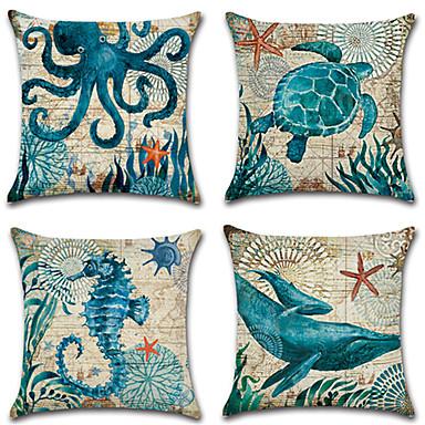 4.0 szt Cotton / Linen Poszewka na poduszkę Pokrywa Pillow, Drukowany Modny Nowość Vintage Na co dzień Tropikalny Europejski