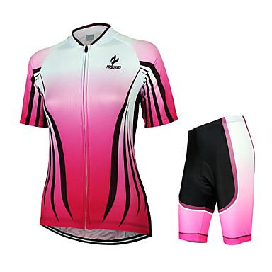 Arsuxeo Maillot et Cuissard de Cyclisme Femme Manches Courtes Vélo Maillot Cuissard  / Short Ensemble de Vêtements Séchage rapide Design
