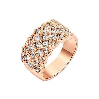 Damen Kubikzirkonia vergoldet - Erklärung Gold Ring Für Party / Normal