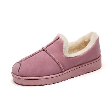 Damskie Obuwie PU Zima Comfort Mokasyny i pantofle Okrągły Toe na Casual Black Gray Różowy Khaki