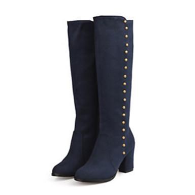 d5ed417d4 Women's Boots Pointed Toe Rivet Suede Knee High Boots Comfort / Novelty  Fall / Winter Black / Blue / Burgundy / EU42