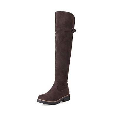 Damen Schuhe Nubukleder Herbst / Winter Modische Stiefel Stiefel Runde Zehe Kniehohe Stiefel Schnalle Schwarz / Braun / Mandelfarben