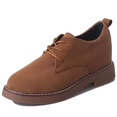 Damen Schuhe PU Winter Komfort Stiefel Runde Zehe Schnürsenkel für Normal Schwarz Braun Grün