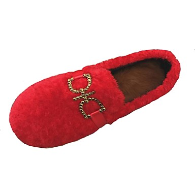 Damskie Obuwie Kaszmir Zima Comfort Mokasyny i pantofle Okrągły Toe Stras na Casual Black Czerwony