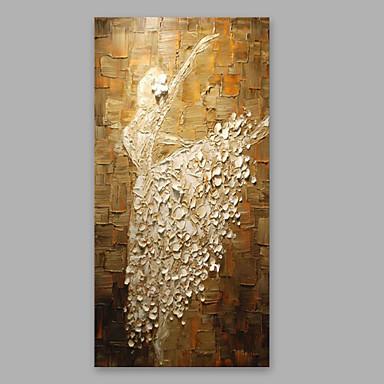 Hang-Malowane obraz olejny Ręcznie malowane - Ludzie Nowoczesny Naciągnięte płótka / Rozciągnięte płótno